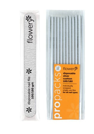 D-Files Silver Disposable Nail File 100/180 Grit - 12 Pack