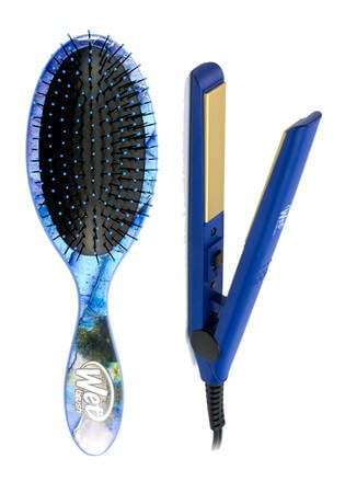 Wet Brush Pro Gemstone Detangler and Mini Iron - Blue