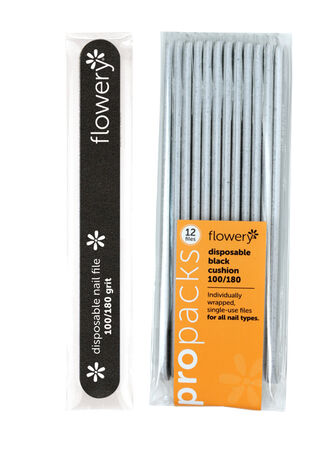 D-Files Black Disposable Nail File 180/400 Grit - 12 Pack