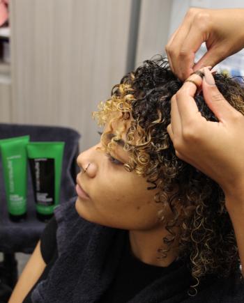 step 2 matrix elongated curls holiday tutorial