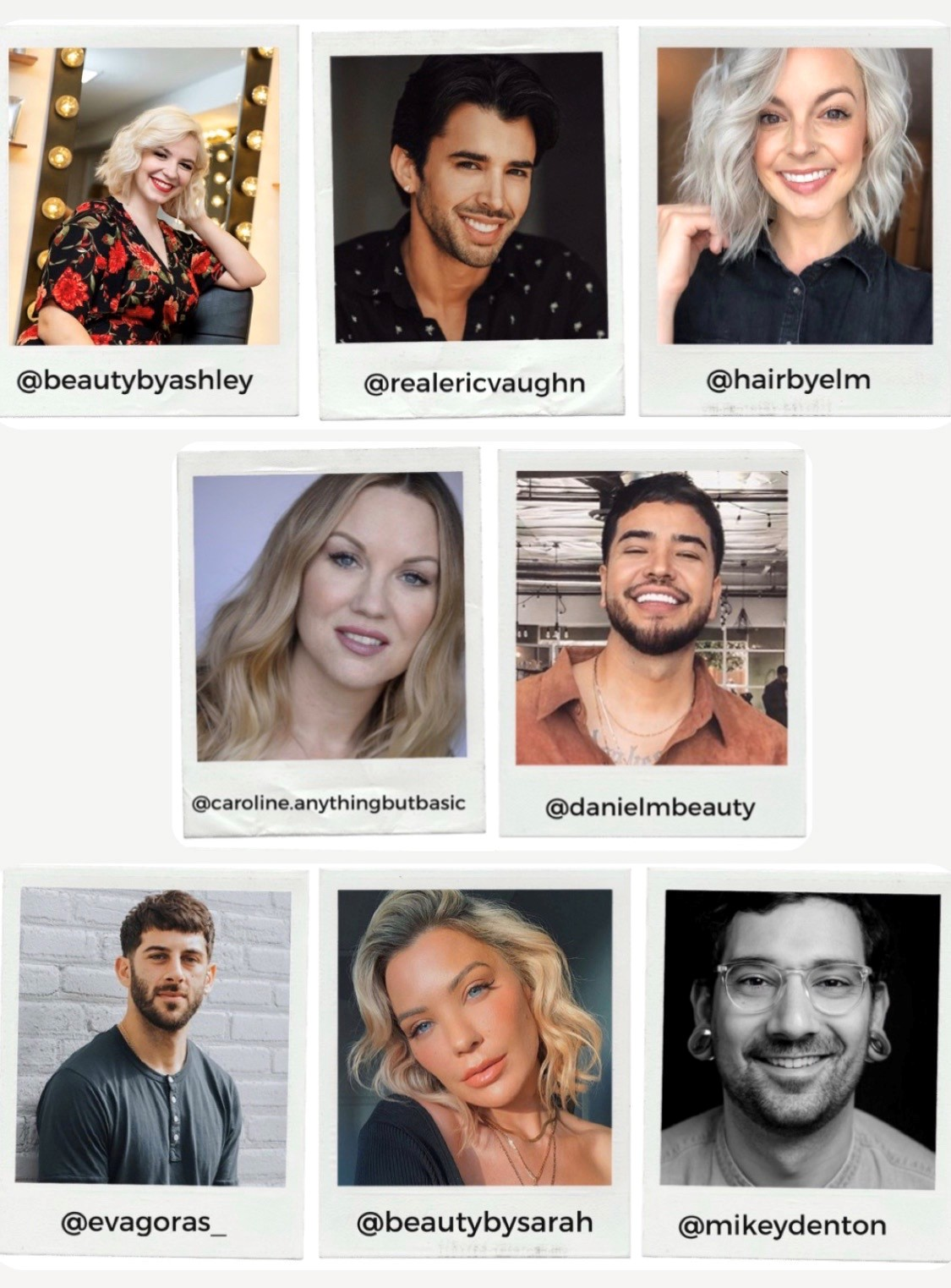 Head shots of featured artists