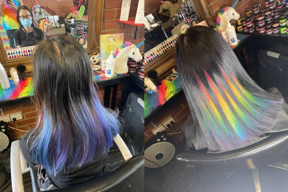 ANCHOR RE before and after hidden rainbow hair tutorial