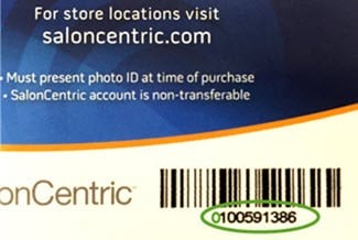 find your SalonCentric account number on your store card
